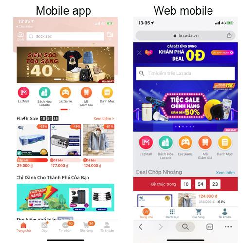 Khác biệt giữa mobile app và website